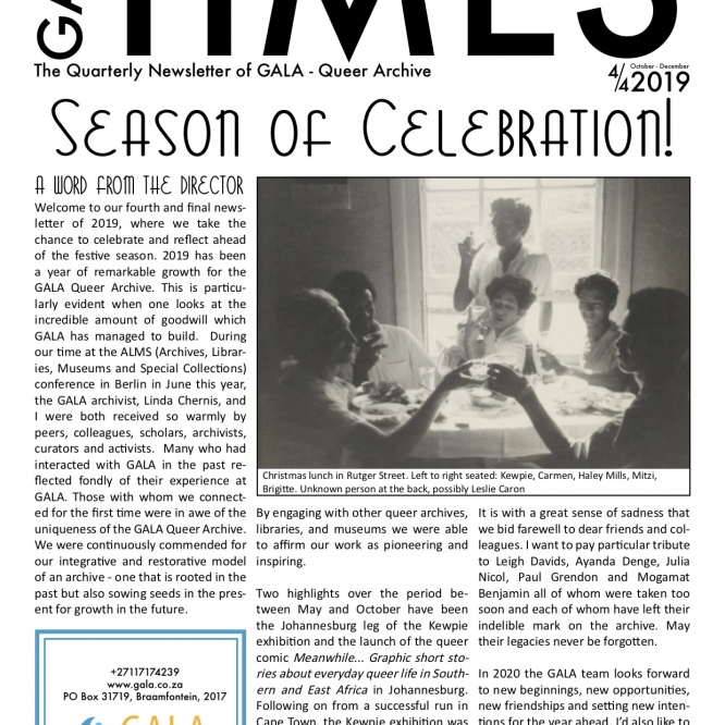 GALA Times: 2019 4/4 – The Season of Celebration