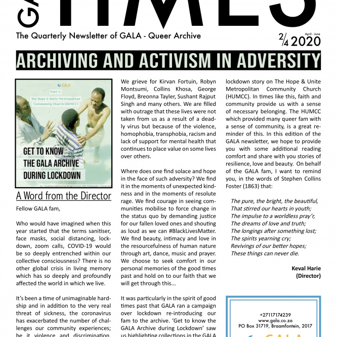 GALA Times: 2020 2/4 – Archiving and Activism in Adversity