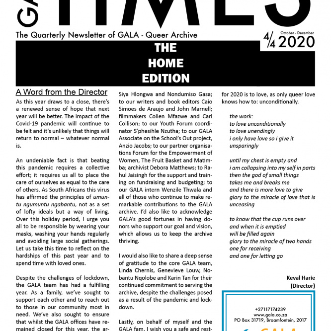 GALA Times: 2020 4/4 – The Home Edition